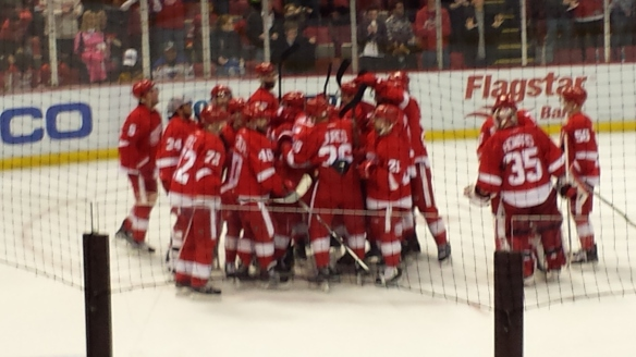 Red Wings celebrate Justin Abdelkader's overtime goal